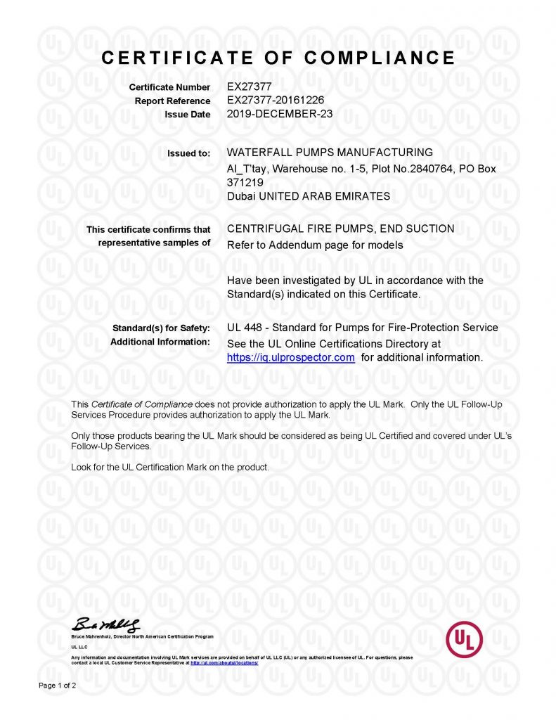 UL Certificate of Compliance (EX27377) | End Suction - Page 1 of 2