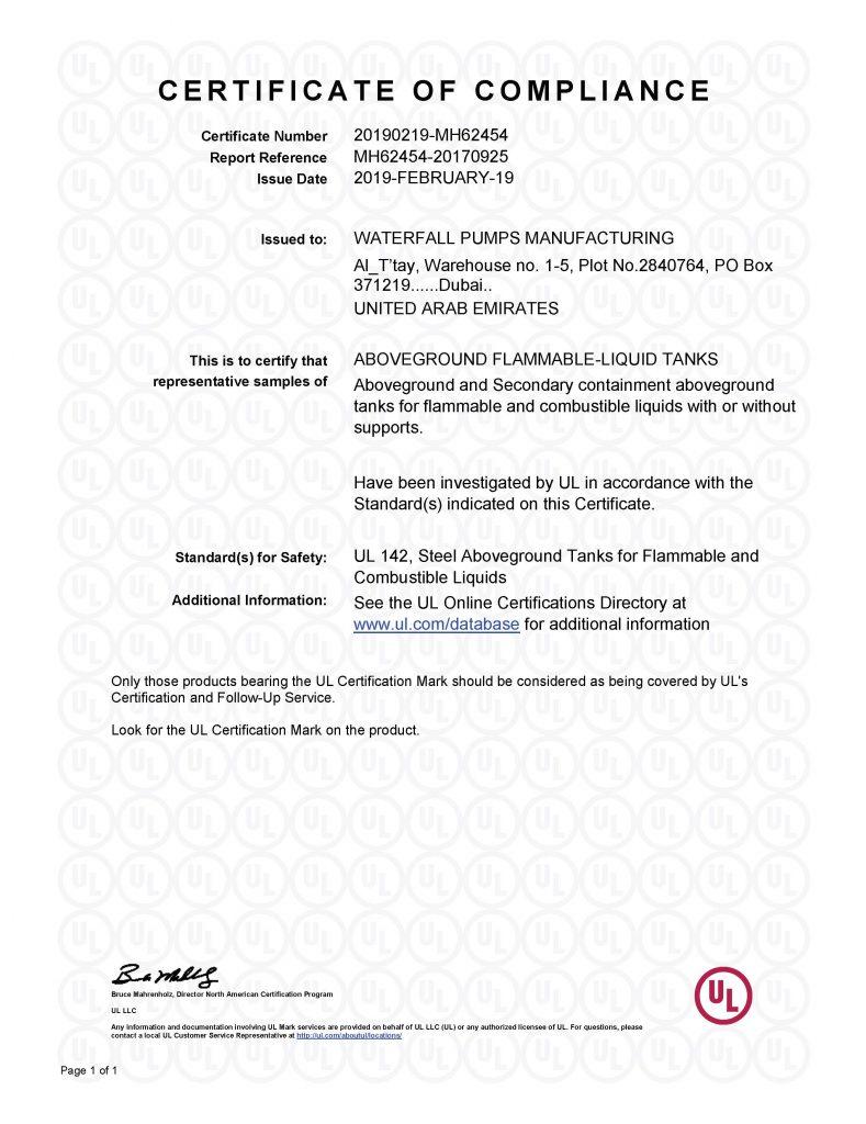 UL Certificate of Compliance (MH62454) | Liquid-Tanks