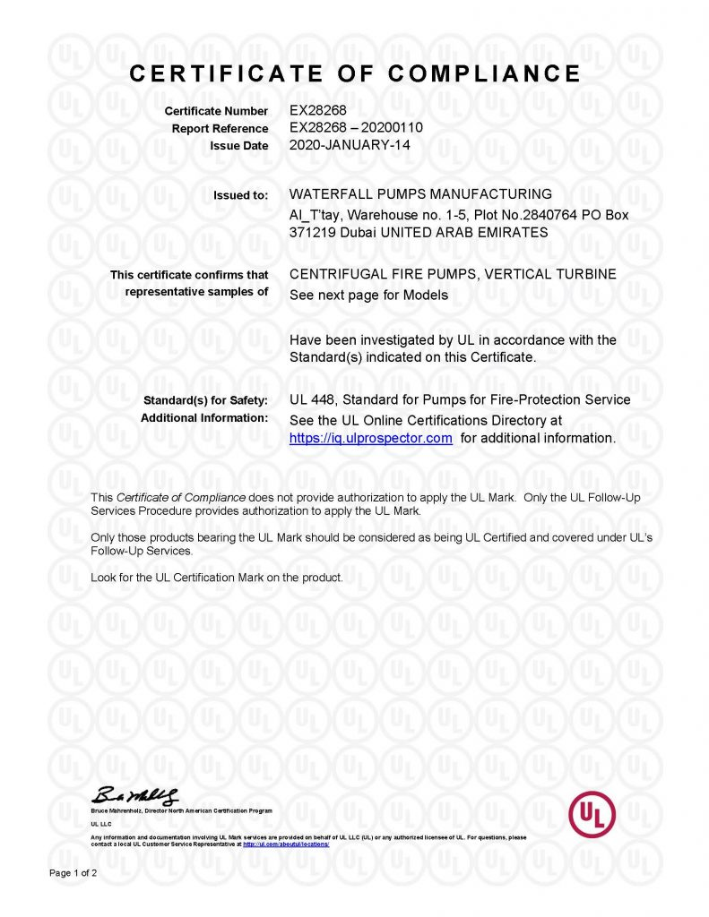 UL Certificate of Compliance (EX28268) | Vertical Turbine - Page 1 of 2