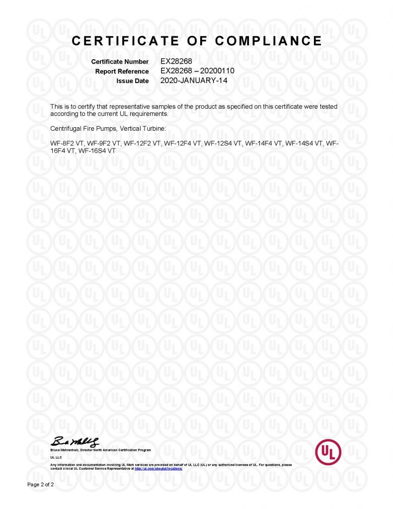 UL Certificate of Compliance (EX28268) | Vertical Turbine - Page 2 of 2
